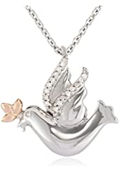 """10k Rose Gold, Sterling Silver and Diamond Accent Peace Dove Pendant Necklace, 18"""""""