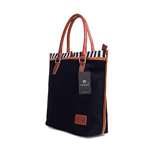 YAAGLE Mens Womens Large Capacity Casual Canvas Tote Bag Top-handle Handbag Shopper Satchel Laptop Case Navy Style Blue Black