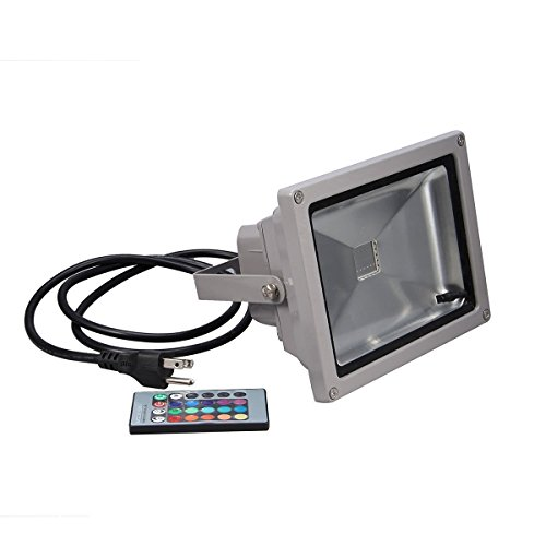 KLAREN Remote Control 10W RGB Waterproof LED Flood Light Landscape Spotlight Wall Washer Light 16 Different Color Tones with US Plug For Outdoor Hotel Garden (Indoor Led Wall Washer compare prices)