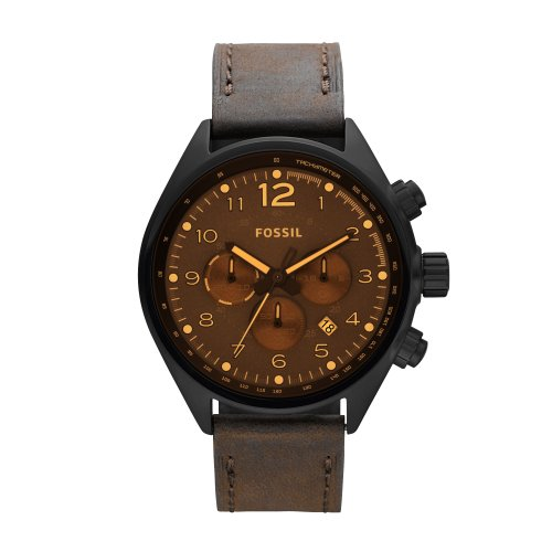 Fossil Men's Flight Chronograph Watch CH2782 With Brown Dial, Black Case And Brown Leather Strap