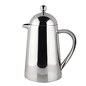 Francois et Mimi Double Wall French Coffee Press, 27-Ounce, Stainless Steel