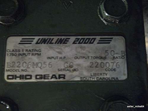 Uniline 2000 50:1 Ratio Gearbox B2206Mq56 W/ 1/2Hp Ac Motor