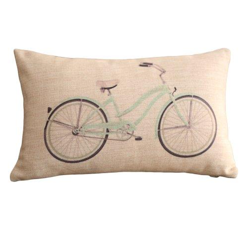 Clear Bicycle Print Rectangular Throw Pillow Covers 30CMx45CM Lumbar Cushions Linen Decorative ...