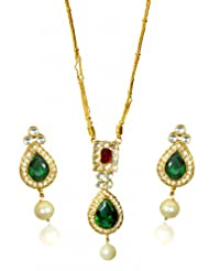 Kshitij Jewels Gold Green Red Metal Pendant Jewellery Set For Women (KJ 061)