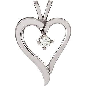 IceCarats Designer Jewelry 14K White Gold 1/10 Ctw Diamond Heart Pendant