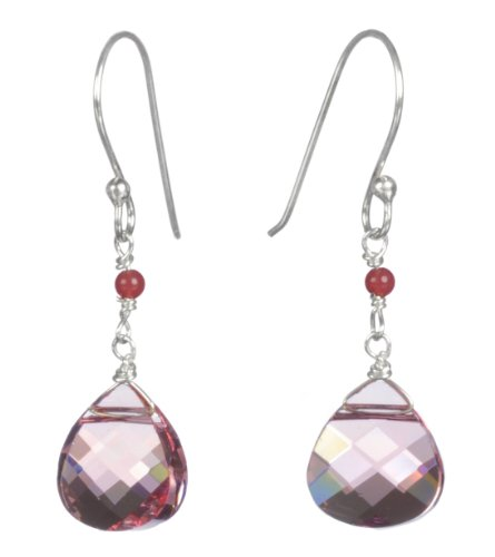 Gold Plated Silver Tourmaline and Pink Swarovski Elements Earrings