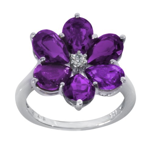 Sterling Silver Amethyst and Clear Crystal Flower Ring, Size 6