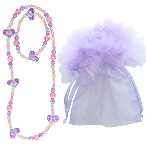 Love in Lavender Jewelry in a Marabou Bag - Girl's Princess Dress up Necklace & Bracelet Stocking or Easter Stuffer Set