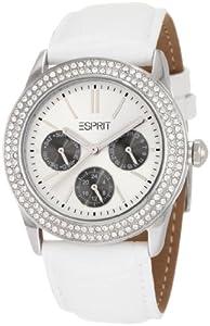 Esprit - ES103822001 - Montre Femme - Quartz Analogique - Cadran Argent - Bracelet Cuir Blanc