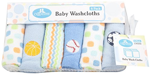 CribMates Baby Washcloths, 1-Pack (6 Wash Cloths), Blue