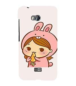 EPICCASE Girl As cute Rabbit Mobile Back Case Cover For Micromax Q336 (Designer Case)