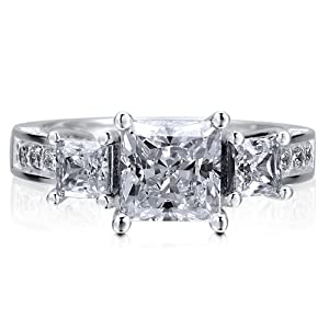 Sterling Silver 925 Princess Cut Cubic Zirconia CZ 3-Stone Ring - Nickel Free Engagement Wedding Ring Size 8