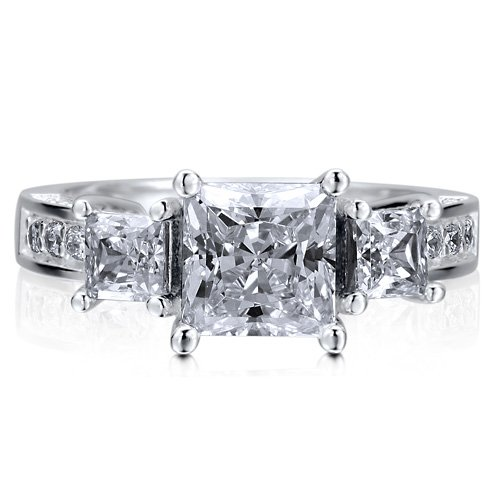 Sterling Silver 925 Princess Cut Cubic Zirconia CZ 3-Stone Ring - Nickel Free Engagement Wedding Ring Size 7