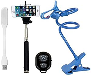 Iceberg Makers.in Selfie Stick with Bluetooth Remote And Flexible Mobile Holder And USB LED light [Only for Apple iphone and Xiomi series mobiles]