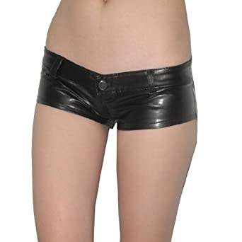 Womens Thai Exotic Low Rise Faux Leather Shorts Medium Brown at Amazon