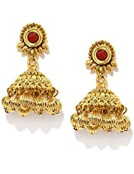 Zaveri Pearls Jhumka Earrings Traditional In Antique Gold Look Kundan With Multi Gold Ball Drops - ZPFK5043