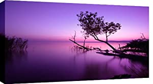 LARGE PURPLE TONED SUNSET LAKE CANVAS PICTURE mounted and ready to hang 36 x 20 inches (91 x 52 cm)