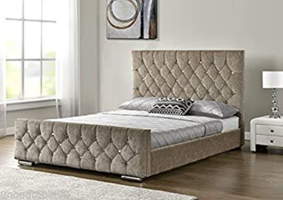 CRAVOG Diamante Upholstered Fabric Bed Frame Velvet Chenille Double King Size