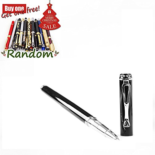 JINHAO 301 Chrome With Ruby Ring 0.38mm Fine Nib Point Black Color Pen with Push in Style Ink Converter Big Gift (Pic Roller Ball Refill compare prices)