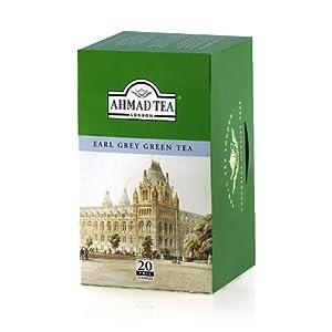 Ahmad Tea Earl Grey Green Tea, Tea Bags, 20-Count Boxes (Pack of 6)