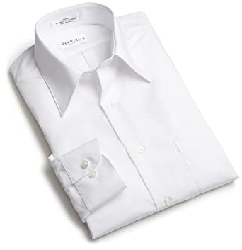 Van Heusen Men's Tall Long Sleeve Wrinkle Free Poplin Solid Shirt, White, 17.5 - 37/38