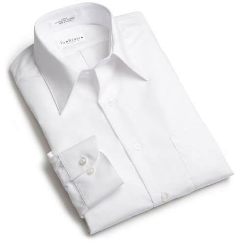 Van Heusen Men's Tall Long Sleeve Wrinkle Free Poplin Solid Shirt, White, 18 - 37/38 Big Tall Dress Clothes