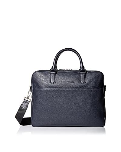 Emporio Armani Grained Leather Briefcase, Navy, One Size