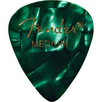 Fender 198-0351-871 351 Shape Medium Classic Celluloid Picks, 12-Pack, Green Moto