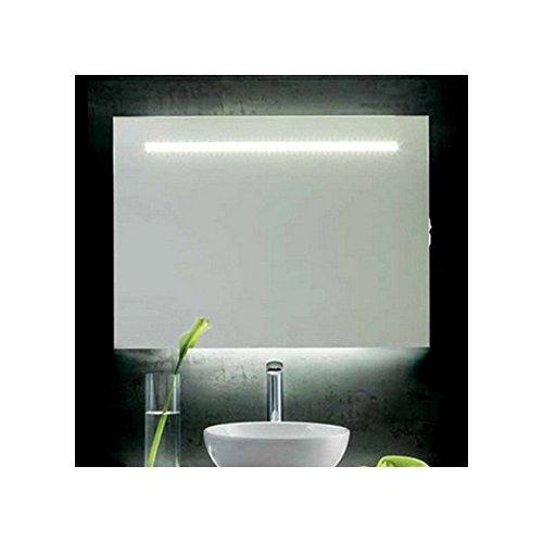 Stilhaus Arredo Bagno - Specchio Retroilluminato Led, cornice cromata, luce diffusa 90x70H Cm