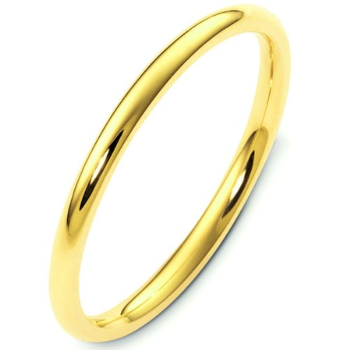 14K Yellow Gold, Comfort Fit Wedding Band 2MM (sz 12)