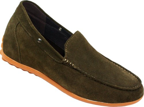 Calden - K217323 - 2.6 Inches Taller - Size 9 D Us - Height Increasing Elevator Shoes (Nubuck Khaki Super Lightweight Slip-On Casual Shoes)
