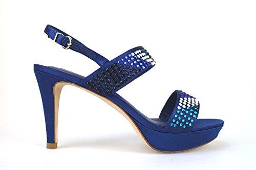 scarpe donna LUCIANO BARACHINI 39 EU sandali blu raso strass AH89