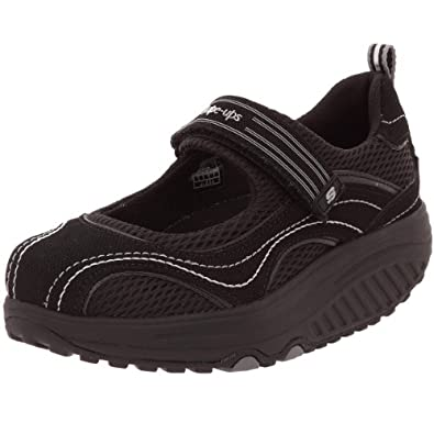 Skechers Women's Shape Ups - Sleek Fit Fitness Mary Jane Sneaker,Black/Black,7 M US
