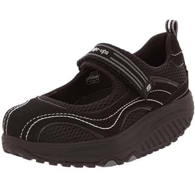 Skechers Women's Shape Ups Sleek Fit Fitness Mary Jane Sneaker,Black/Black,8.5 M US