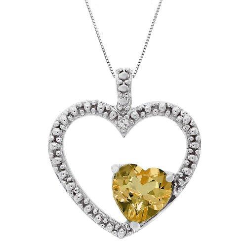 Citrine and Diamond Double Heart Pendant