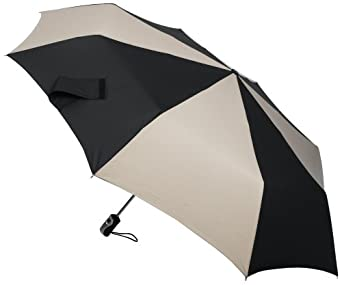 Totes Golf Size Auto-Open/Close Umbrella, Black and Tan