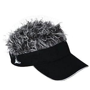 Flair Hair Black Visor with Grey Hair