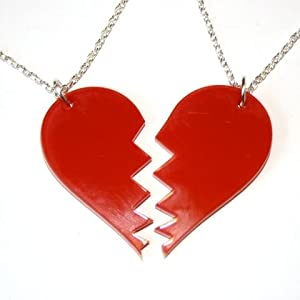 Sour Cherry Broken Heart Necklace (2pcs)