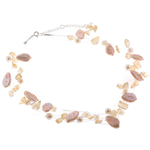 Freshwater Pearl Necklace with Chipped Gemstones - Yellow, Red - 18'' Length