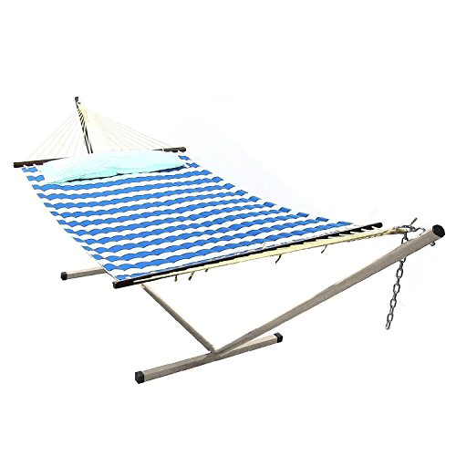 Sunnydaze Royal Blue Quilted Double Fabric Hammock with Spreader Bars, Pillow and Stand Combo, 135 Inch Long x 55 Inch Wide