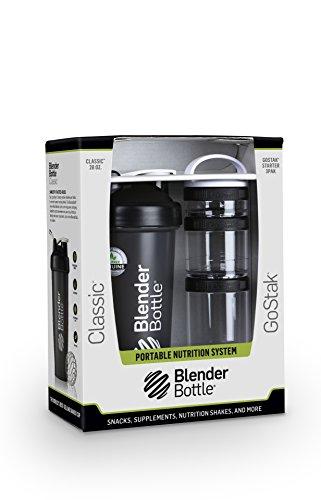 BlenderBottle Combo-Pack With Loop: (1) 28 Oz Classic Bottle + (1) GoStak Starter 3PAK (Black)