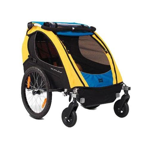 Burley 942103KIT1 Encore Trailer with 2-Wheel Stroller Kit Blue Yellow