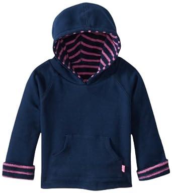 JoJo Maman Bebe Baby Girls' Hooded Sweatshirt (Baby) - Navy/Fuchsia Stripe - Navy/Fuchsia - 6-12 Months