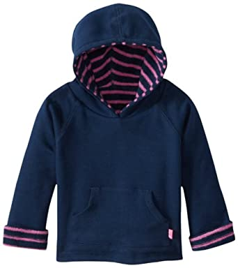 JoJo Maman Bebe Hooded Sweatshirt (Baby) - Navy/Fuchsia Stripe-6-12 Months
