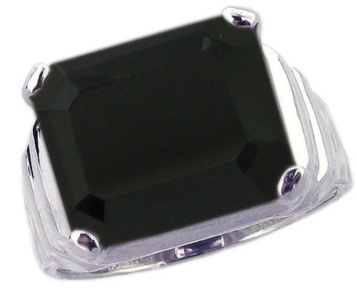 Sterling Silver Cocktail Ring with Large Octagon Genuine Gemstone-Black Onyx-in full,half,quarter sizes from 5 to 9_7.25