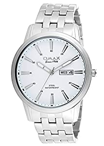 OMAX Men's Analog Day And Date Stainless Steel Watch White - SS412