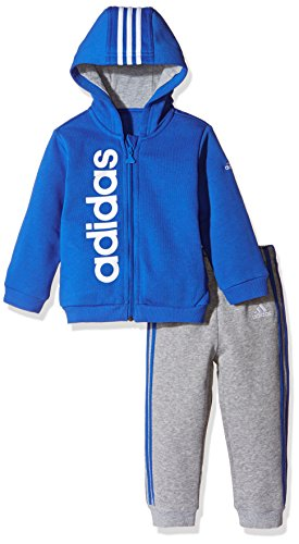 adidas kinder style hooded jogginganzug top blue white bottom medium grey heather blue white 98. Black Bedroom Furniture Sets. Home Design Ideas