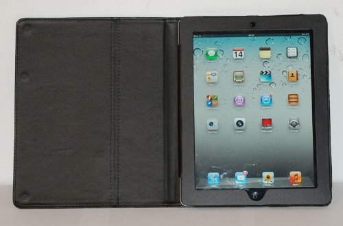 NEW BLACK LEATHER FLIP CASE COVER PROTECTOR FOR APPLE IPAD 2/3