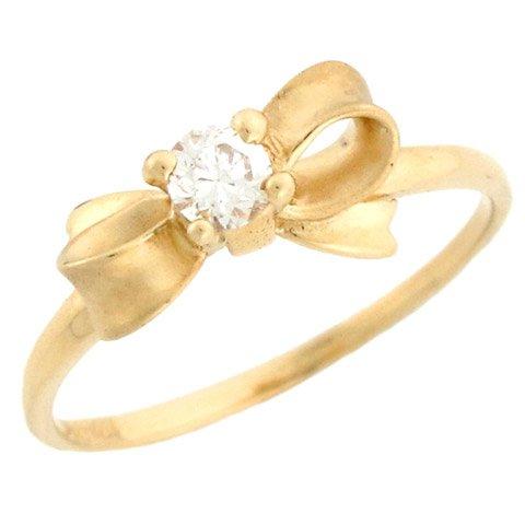 10k Yellow Gold Pretty Bow Design Round CZ Satin Finish Promise Ring