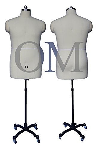 Male Fully Pinnable Sewing Dress Form Mannequin With Magnetic Shoulders On Rolling Base Size 42 Made by OM® (Magnetic Series) (Sewing Mannequin Male compare prices)